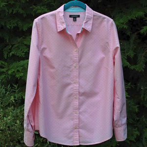 Lands' End Pretty Pink With Teal Polka Dots Top